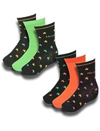 6 Paar Kinder Socken Neon Sterne und uni in verschiedenen Farben