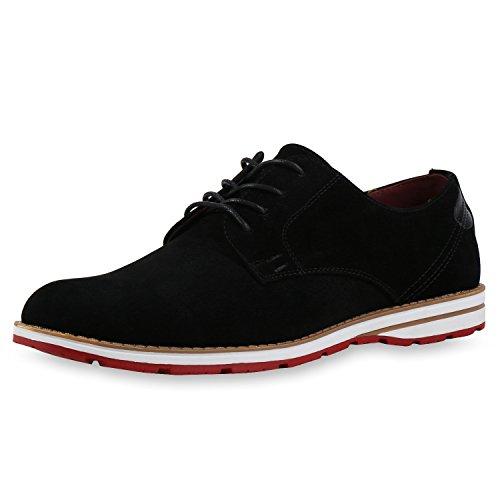 Herren Schuhe Business Schnürer Halbschuhe Weiße Sohle Velours Schwarz 42