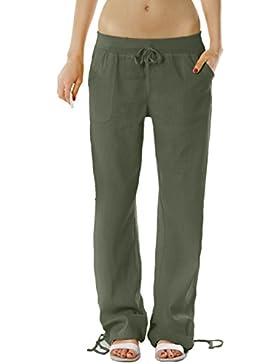 Pantaloni Bestyledberlin Donna, pantaloni di lino, casual Donna pantaloni j98a