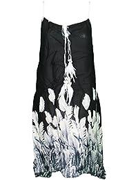 Mevina Damen Kleid Feder Print echte Federn Muster lang Sommerkleid süßes Urlaubskleid Sommer