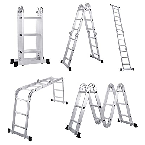 Lifewit 3.8M Folding Ladder 3X4 Heavy Duty Multi Purpose Step Ladder Aluminum EN131
