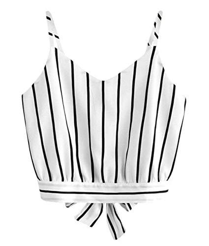Avondii Damen Sommer Crop Tops Schulterfrei Schwarz Streifen Kurz Leibchen (S, Weiß)