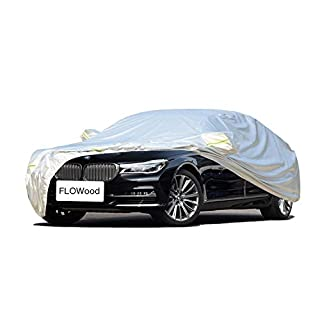 FLOWood Car Cover All Weather Waterproof Breathable Outdoor UV Protection Full Fit Large Car(XL:540 * 175 * 120cm)
