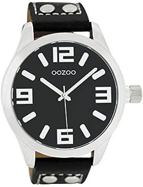 Oozoo  Damenuhr mit Lederband  C1054,schwarz, 46 MM