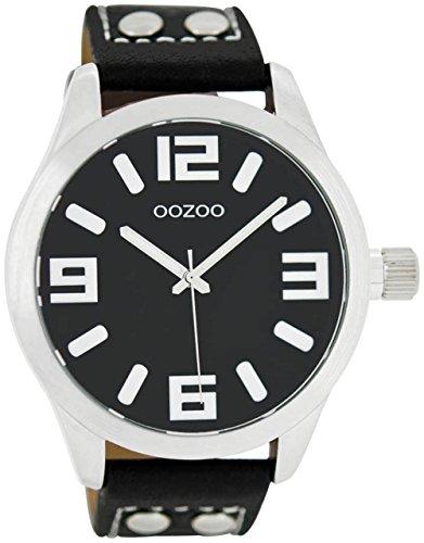 Oozoo Damenuhr mit Lederband 46 MM Schwarz/Schwarz C1054