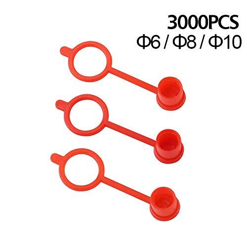 Maslin Staubschutzkappe für Ölfettpistole, M6, M8, M10, Rot, 3000 Stück -