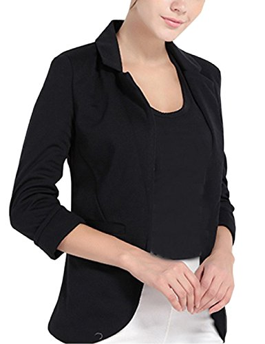SEBOWEL Womens Boyfriend Blazer Jacket Suit 3/4 Long Sleeve Cardigan Lapel Coat