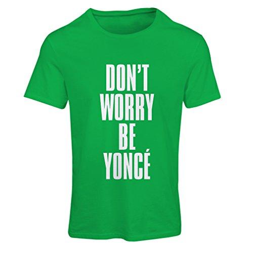 Maglietta Donna Non preoccuparti! Come essere felici, grandi citazioni, famosi detti positivi Verde Bianco