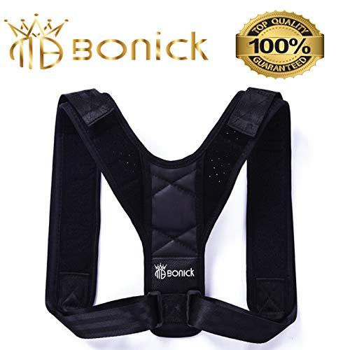 bonick mejor corrector de postura Espalda y hombros para hombre y mujer 2.0| transpirable | ajustable | topmedcare | Unisex | Profesional | farmacia postural | Color Negro | en oferta