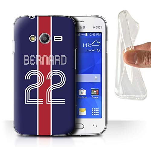 eSwish Personnalisé Kit Maillot Football Euro Personnalisé Coque Gel/TPU pour Samsung Galaxy Trend 2 Lite/G318 / Bleu Rouge Design/Initiales/Nom/Texte Etui/Housse/Case
