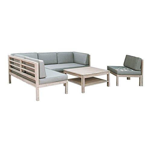 OUTLIV. Loungemöbel Holz Skagen Loungegruppe Design Gartenmöbel Weiß/Taupe 4tlg. Loungeset...
