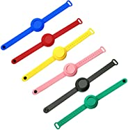 6PC Wristband Hand Dispenser for Kids & Adults, Hand Sanitizer Silicone Refillable Wristband, Wearable Dis