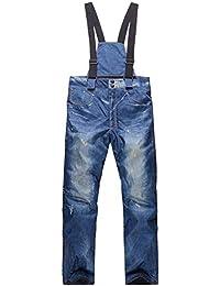 BEMEI Pantalon de Ski Homme Hiver Randonnée en Plein Air Pantalon (avec  Ceinture) 9a0572d6897