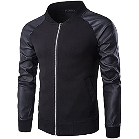 H2H Mens Slim Fit Varsity Baseball Bomber Di Vari Stili ()