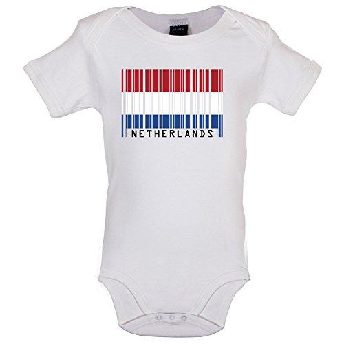 s/Niederlande Holland Barcode Flagge - Lustiger Baby-Body - Weiß - 0 bis 3 Monate ()
