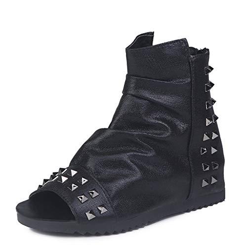 online store 55760 8b9cb BaZhaHei Retro Sandali Piatti Donna con Cerniera Estive Elegant Slip-On  Scarpe Peep Toe Comodo
