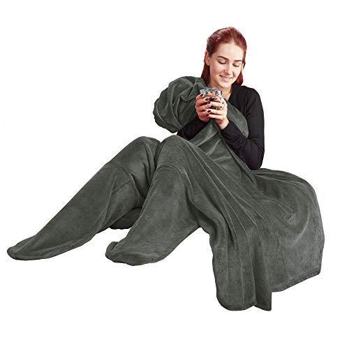 Produktbild CelinaTex Footy XL Kuscheldecke mit Füße 170 x 200 cm grau Fleece Sofadecke Fußwärmer Decke 5001590
