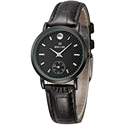 OUMOSI Retro Waterproof Leather Women with Quartz Movement Wrist Watches