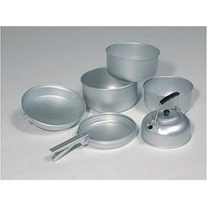 417d17LsyRL. SS300  - Mil-Tec Unisex_Adult Koch-Set Alu 3 Töpfe Pfanne Teekessel Cooking, Silver, 20.5 x 10.5 cm/19 x 8.5 cm/17 x 8.5 cm