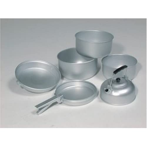 417d17LsyRL. SS500  - Mil-Tec Unisex_Adult Koch-Set Alu 3 Töpfe Pfanne Teekessel Cooking, Silver, 20.5 x 10.5 cm/19 x 8.5 cm/17 x 8.5 cm