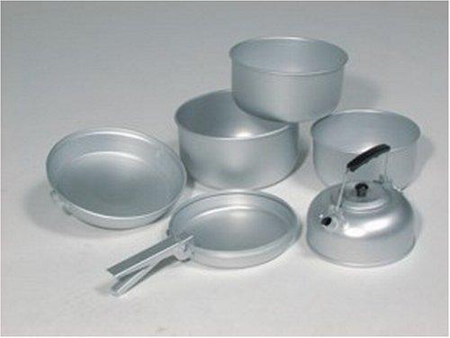 417d17LsyRL - Mil-Tec Unisex_Adult Koch-Set Alu 3 Töpfe Pfanne Teekessel Cooking, Silver, 20.5 x 10.5 cm/19 x 8.5 cm/17 x 8.5 cm