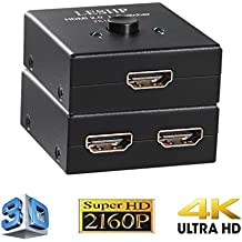 LESHP HDMI Splitter,4k UHD HDMI Conmutador v2.0, Corriente Máxima 15mA,3 Conectores HDMI A / F,Manual Electronic Select 2 LED puerto,AB Switch 2 x 1/1 x 2 HDMI Hub-HDCP Full HD 1080p 60hz 3D,HDMI 2.0 I Switcher