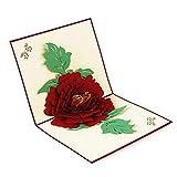 Prettyia 3d Pop-up Einladungkarten Grußkarte Weihnachten Valentinstag Geburtstag - Pfingstrose 2