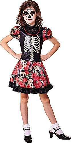 Kinder Halloween Kostüm Party Outfit Tag Der Toten Mädchen Kostüm - Multi, Small