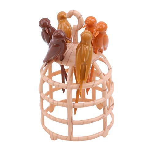 SHIJIANDE Obstgabeln Bunte Vögel auf dem Käfig Käsegabeln Dessertgabeln Tafelgabeln Fondue-Gabeln...