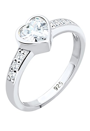 Elli Damen-Ring Herz Liebe Freundschaft Zirkonia Symol silber 925 weiß Gr. 52 (16.6) 0602441312_52