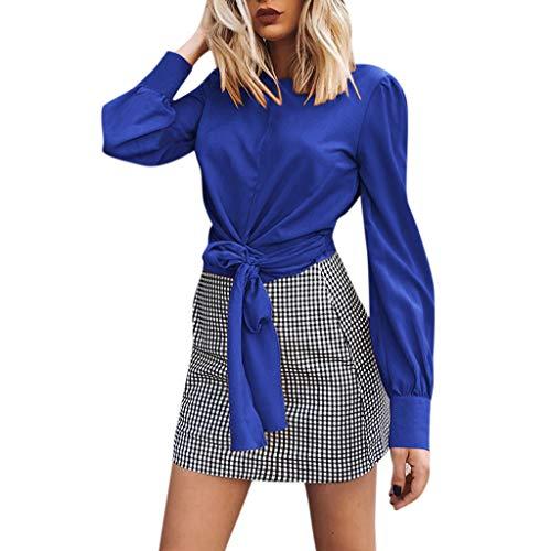 JUTOO 2019 Womens Casual Bow Long Sleeve Backless T Shirt Blouse Tops 31847585ebd3