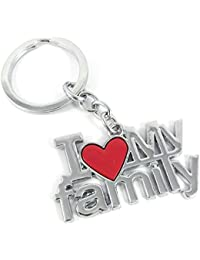Key Era I Love Family Silver Colour Metal Keychain & Keyring For Bikes, Cars, Bags, Home, Cycle, Men, Women, Boys...