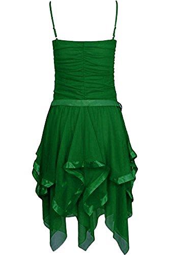Fast Fashion Frauen Kleid Plain Zickzack Chiffon Prom Party Saum Mit Rüschen Gürtel Tie Jade Grün