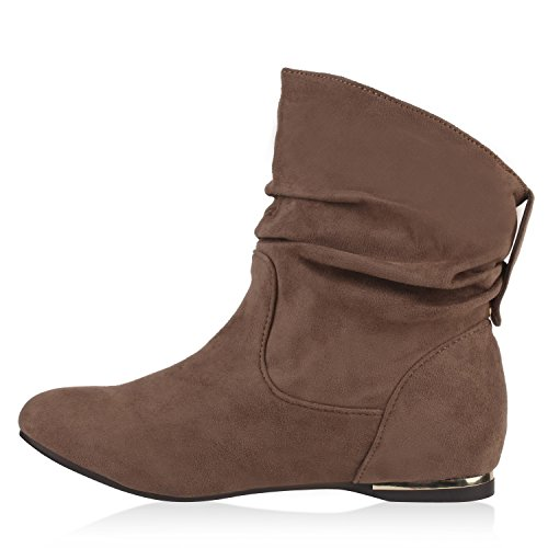 Flache Damen Stiefeletten Wildlederoptik Boots Schlupfstiefel Trendy Khaki
