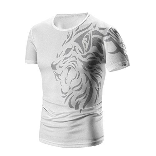 Oyedens Magliette Uomo Manica Corta Cotone Tee Camicetta Uomini Estate della Moda Maschile Stampa T-Shirt (S, Nero) Regalo Uomo