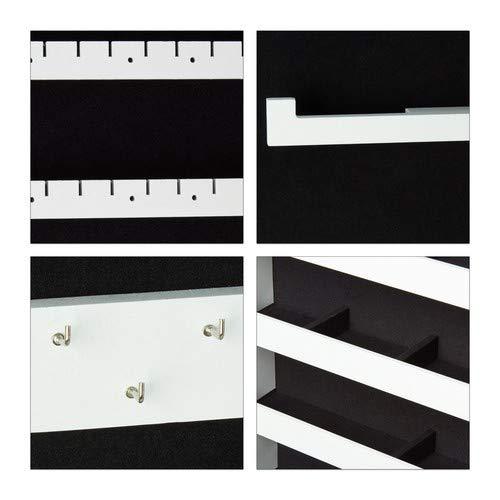 Relaxdays Schmuckschrank Spiegel zum Stellen – abschließbar – Spiegelschrank LED – weiß - 5
