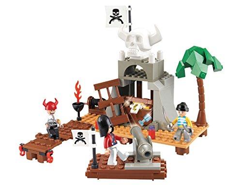 Funstones - Bausteine Piraten Schatzinsel Insel + Figur Pirat + Kanone + Zubehör Baustein Bausatz Set Bau Steine