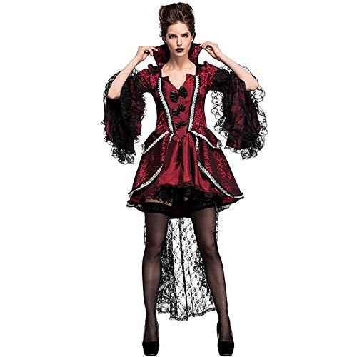 Halloween Karneval Vampir Gräfin European Aristokratischen Hof Kostüme Bühnen Performance-Kostüme,Red,L