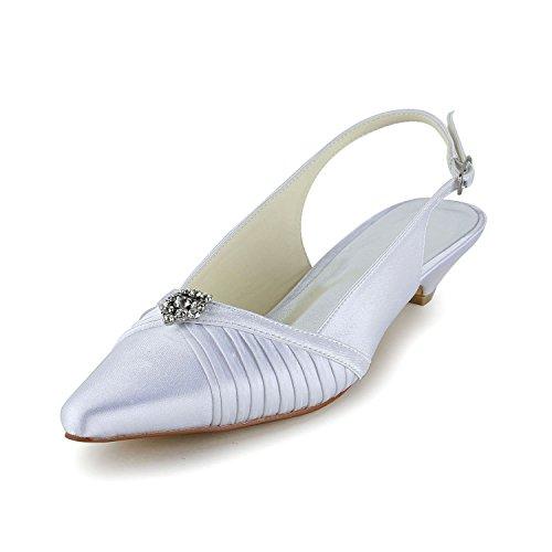 Jia jia scarpe da sposa da donna 30132 punta chiusa tacco basso ruffles strass di sandali satinati scarpe da sposa colore bianco, taglia 42 eu