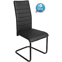 Pack 4 sillas para comedor o salon tapizadas en color negro y estructura metalica negra 55x43cm