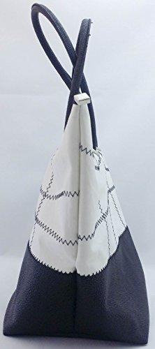 Memme: Borsa donna in vela riciclata e pelle con manico in pelle o ecopelle nero