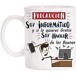 MardeTé Taza Informaticos. Precaución Soy Informático Pero si lo Quieres Gratis Soy Hacker de los Buenos. Divertida Taza de Regalo