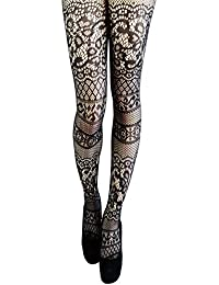 37fb0435e581b6 Yummy Bee Tights Semi Opaque Patterned Black Floral Striped Hearts Lace  Seam Plus Size 8-