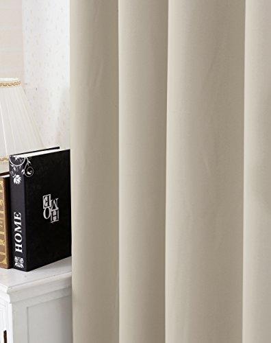 WOLTU #329 , Gardine Vorhang blickdicht mit Ösen schwere Verdunkelungsvorhang Thermovorhang Verdunkelungsgardine Ösenschal Wohnzimmer Schlafzimmer Küche 135×225 cm , Sand - 3