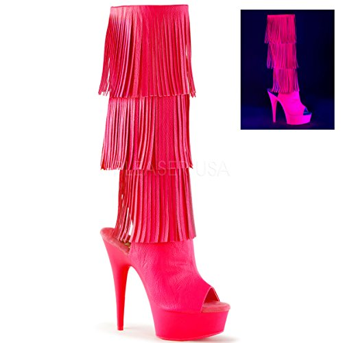 Pleaser DELIGHT-2019-3 Neon H. Pink Faux Leather/Neon H. Pink