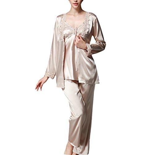 Zhuhaitf Gute Qualität Three-piece Womens Fashion Home Long Sleeves Silk Pajamas Set Nightwear Camel