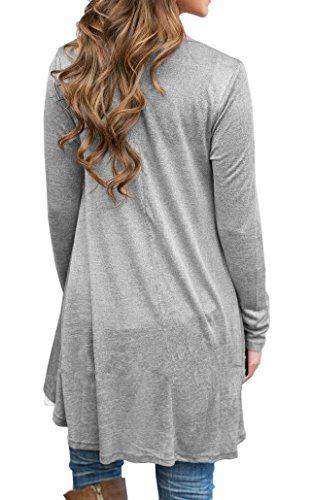 VIISHOW Frauen Langarm A-Linie Spitze Stitching Trim lässige Kleidung Hellgrau