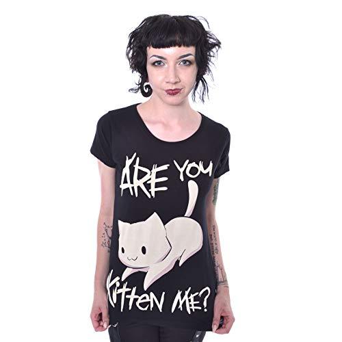 Cupcake Cult Kitten Me Katze Punk Emo T-Shirt - Schwarz (L - DE 40) -