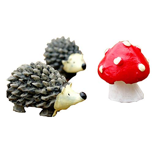 YCANK Dekofigur Igel, Fee, Miniatur-Set, Moosfee, Garten, Pilz -