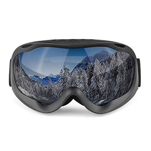 Epinki Erwachsene TPU Snowboardbrille Zweilagige Anti-Fog PC Objektiv Skibrille Schneebrille Sportbrille für Skifahren Schneemobil Skaten, Schwarz Grau
